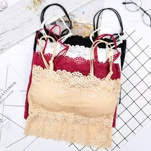 Sexy Lace Tube Top Women Embroidered Bra Strap Padded Tube Top Female Underwear Strap Bras Chest Wrap Bandeau Underwear letter embroidered pleated tube top