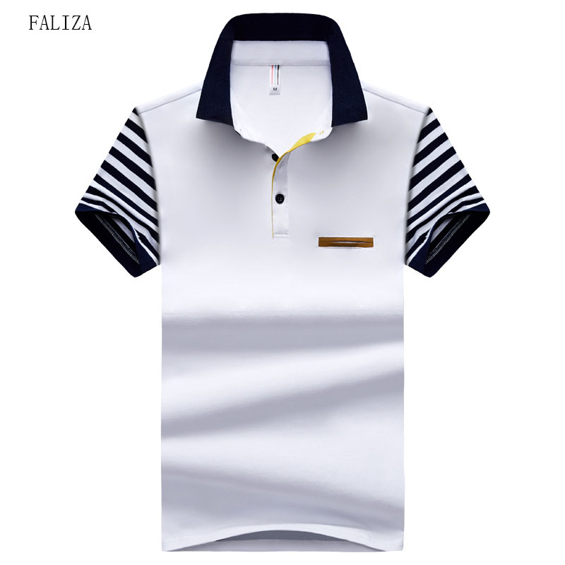 FALIZA New Summer Patchwork Mens   Polos   Shirts Cotton Short Sleeve Men   Polos   Shirts Casual Turndown Collar Male   Polos   Boys TX116
