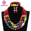 Multicolor de Cristal Frisado Robusto Conjunto Declaração Colar Vermelho WD576 Africano Pérolas Conjunto de Jóias Presente do Dia Dos Namorados Frete Grátis