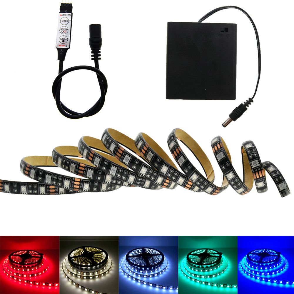 5050 Battery <font><b>LED</b></font> <font><b>Strip</b></font> RGB <font><b>Black</b></font> <font><b>PCB</b></font> IP20 / IP65 Waterproof Decorative Light 4*AA Battery Operated With RGB Controller image