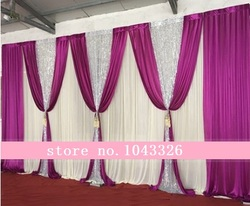 3X6 m (10ft*20ft) Ice Silk Wedding Backdrops Birthday Party Decoration Ice Silk Fabric Stage Backdrop Background Drape Curtain