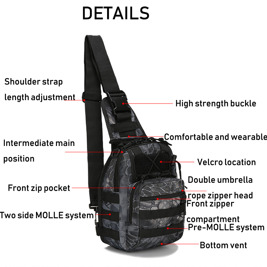 Tactical Bag Shoulder Molle Black (3)