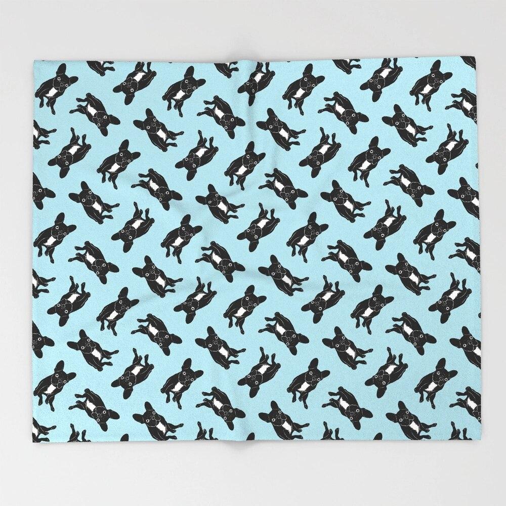 Cute brindle French Bulldog in black and white digital art Throw Blanket Bedspread Design Soft Fleece Throw Blanket Air Winter