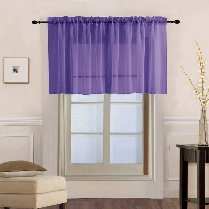 Window Voile Drapes Roman Tulle Kitchen Pure Color Simple Sheer Short Curtains Valance For Bay Window Door Decoration A44-40
