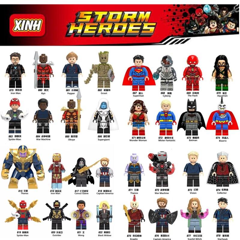 цена на Diy Marvel Heroes super man Thanos Loki Spider man Iron Man Deadpool Tree man Avengers legoings Building Blocks Toys Figures