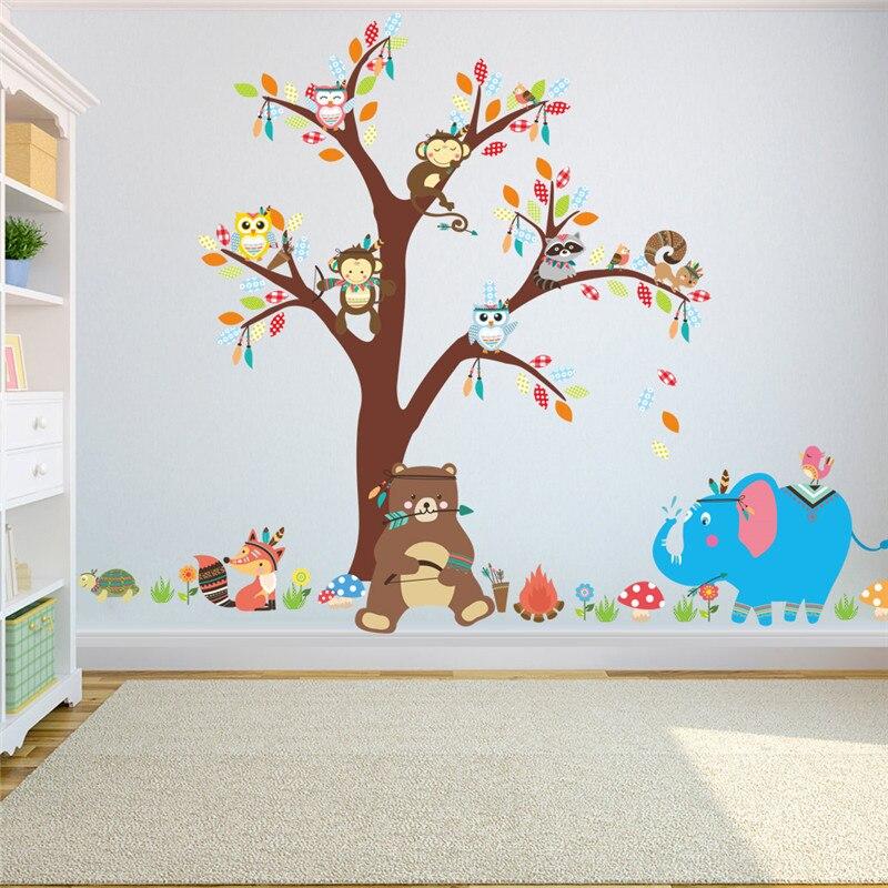 Owls Jungle Animals Wooden Bedroom Furniture Kids: & Jungle Wild Forest Animals Monkey Bear Elephant Tree Owl