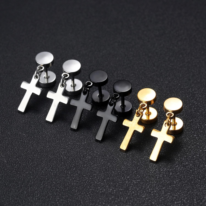 Boucles d'oreilles croix noires