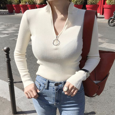 2018 Autumn Winter Fashion Turtleneck Long Sleeve Zipper Long Sleeve  Knitted Sweater Ring Pull Buckle Jumper Black White Tops e9ae87ee5