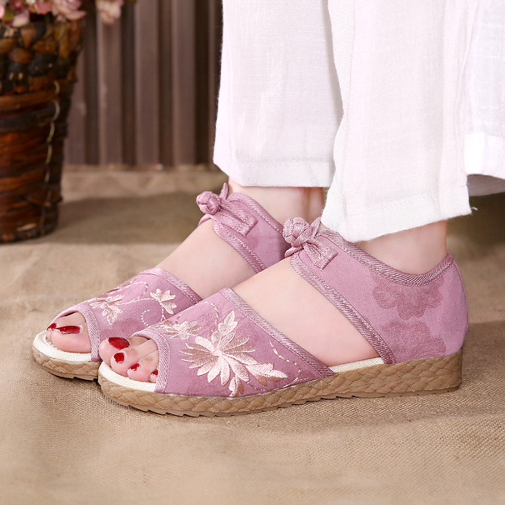 Sandals Flat Shoes Buckle Fish-Mouth Casual Wild Solid -G35 National-Wind-Embroidered