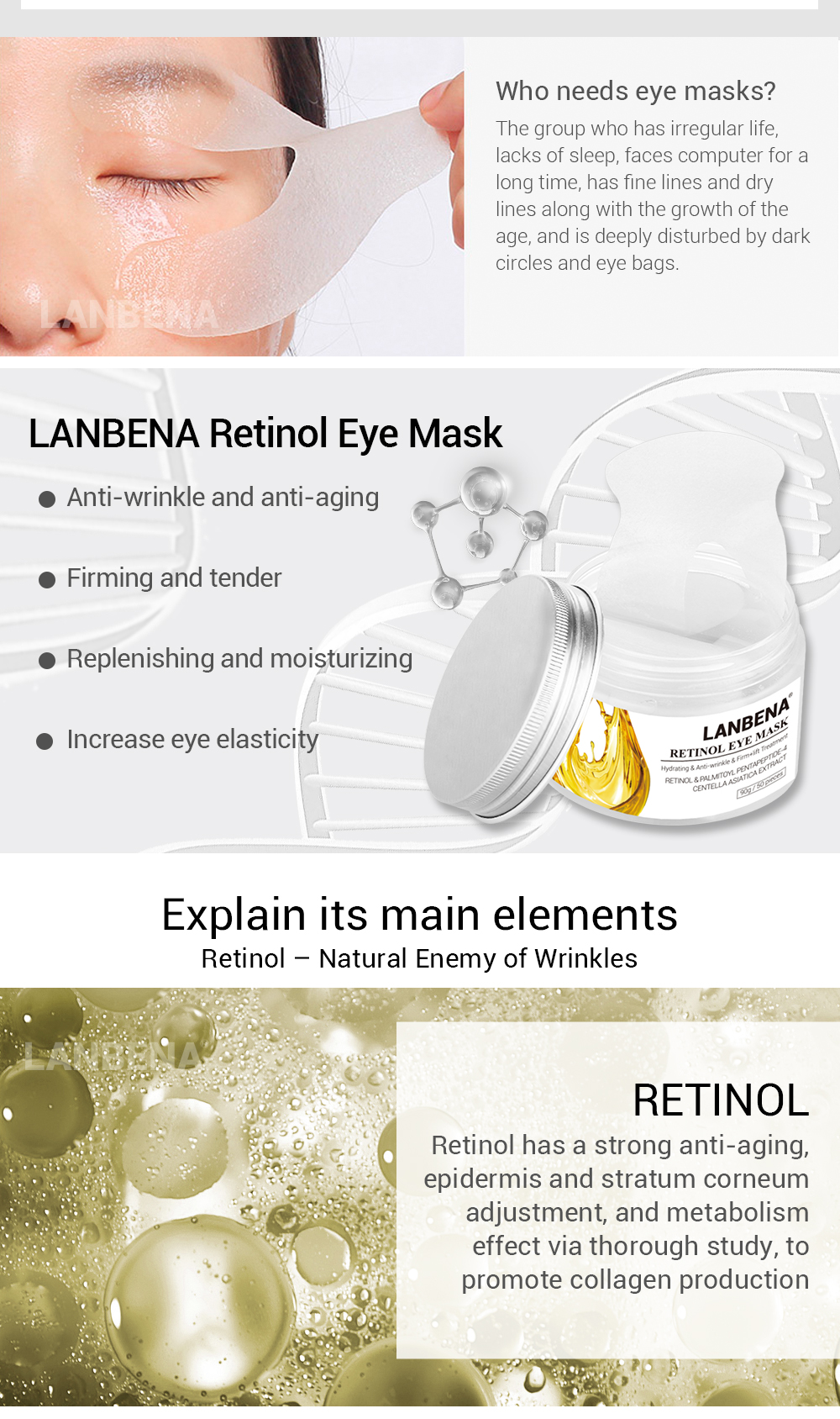 Reinol based Lanbena brand patches serum