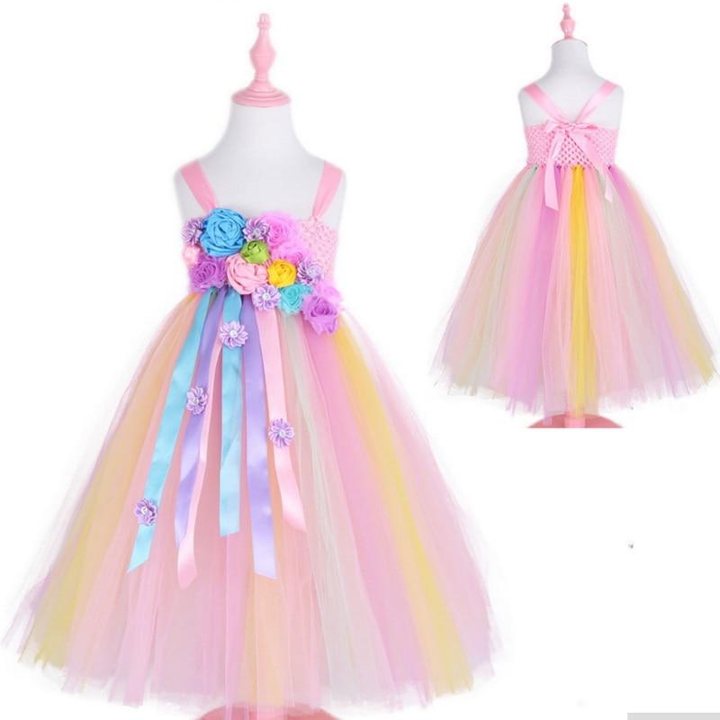 c30dfb36c8 Chicas unicornio traje con flor Beadband pelo princesa niñas fiesta ...