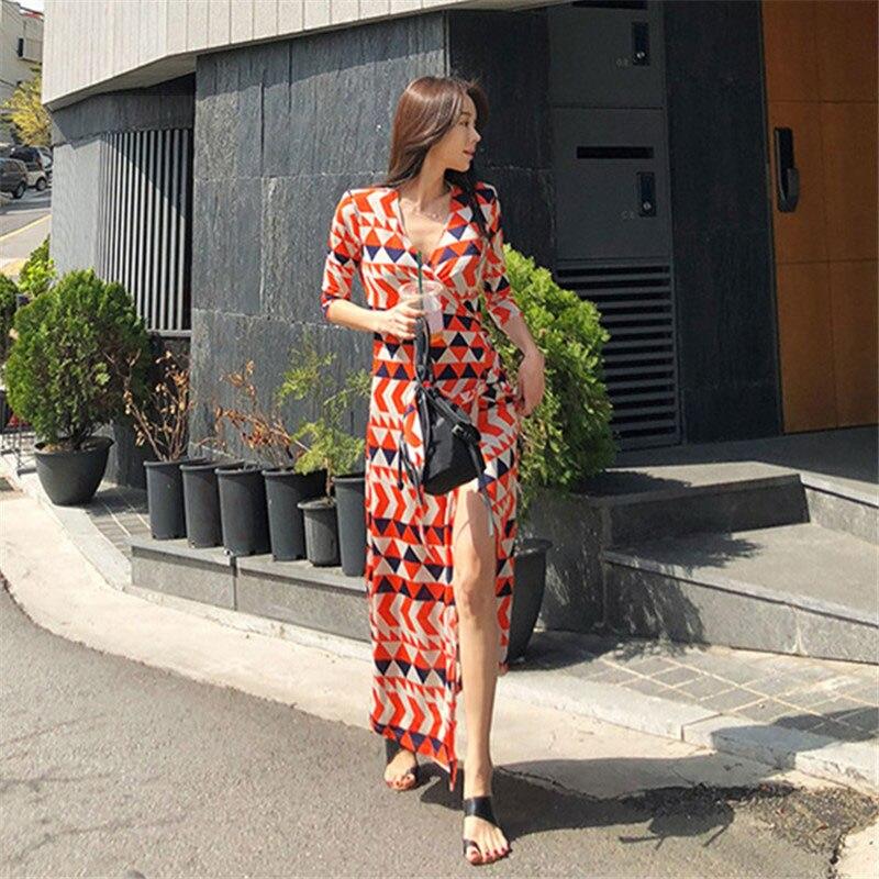 2019 été femmes col en v motif géométrique Wrap Longue plage Robe dames Maxi robes Robe Longue Femme Ete