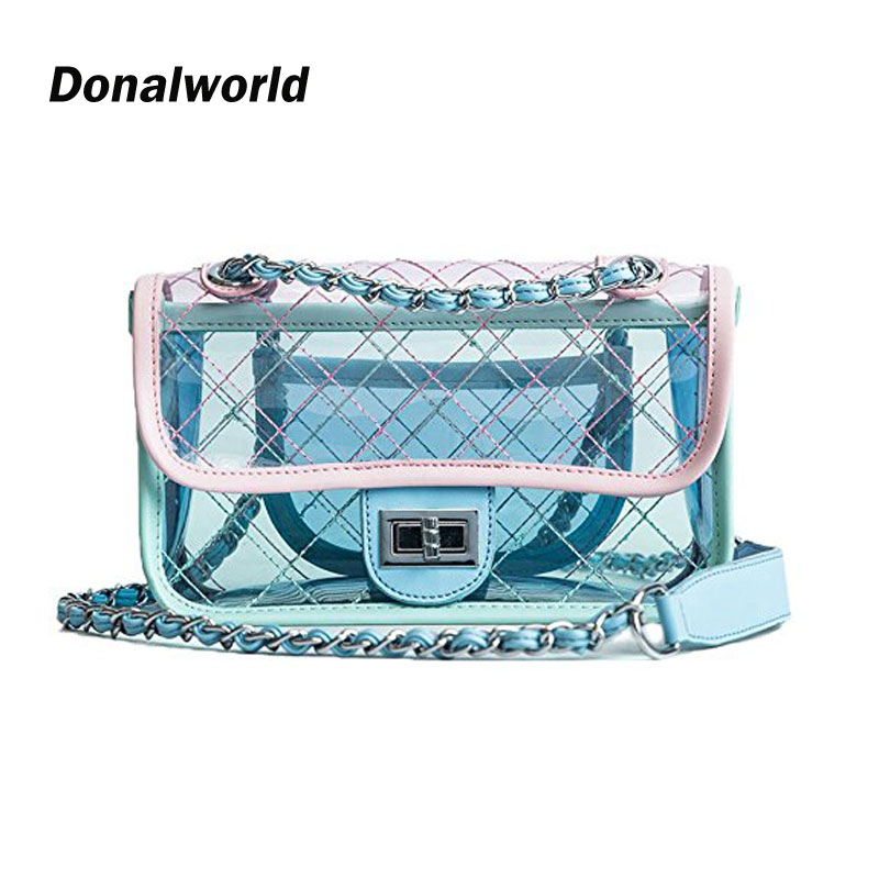 Donalworld Girl Clear Bag Small Flap Quilted Chain Strap Crossbody Bag