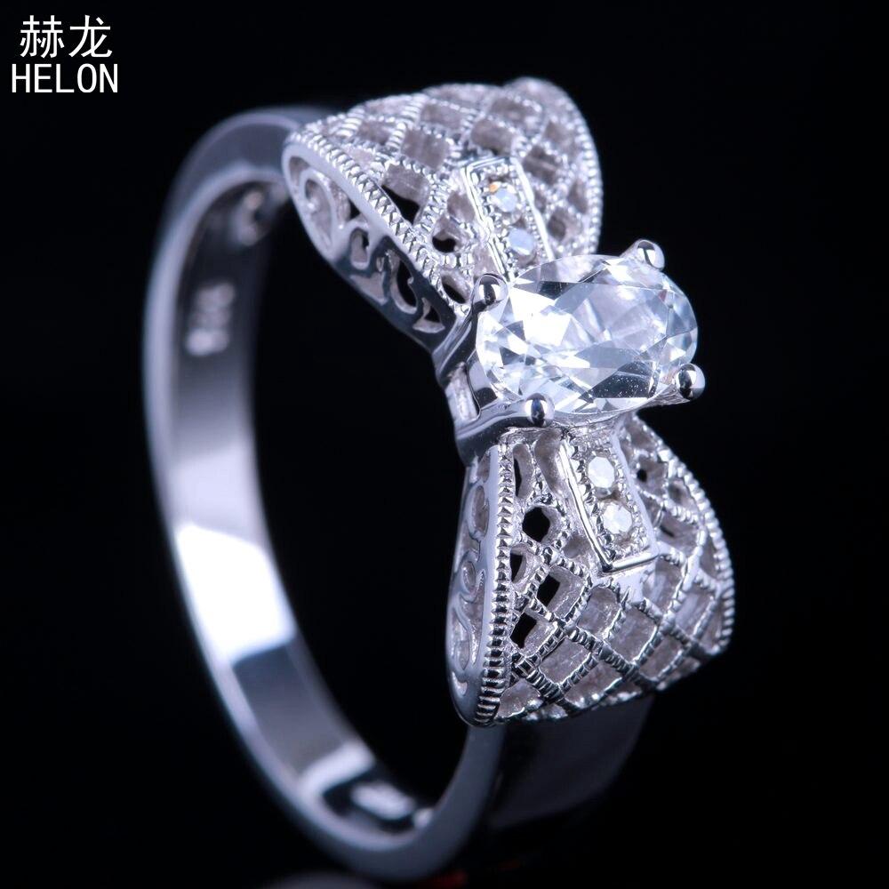Solide 10k or blanc fiançailles classique véritable péridot bague Art déco Vintage mariage pierre précieuse diamant naturel bague Fine bijoux