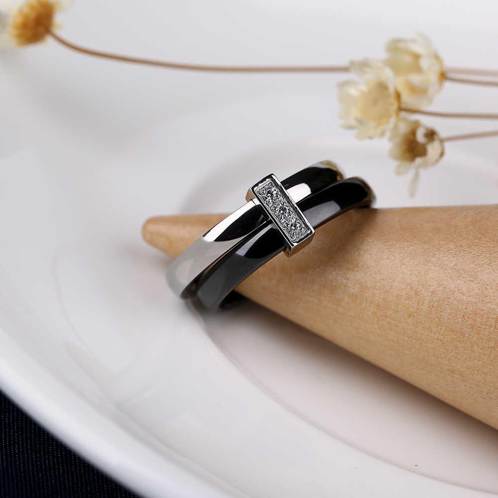Классическое черно-белое двойное круглое кольцо из керамики и серебра, кольца из нержавеющей стали для женщин, женские модные ювелирные изделия с кристаллами, подарки