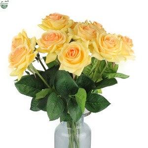 Image 5 - (Kup 2LOT zdobądź dodatkowe 10% zniżki) 11 części/partia strona główna/dekoracje ślubne sztuczny kwiat bukiet panny młodej prawdziwa w dotyku lateksowa róża kwiaty