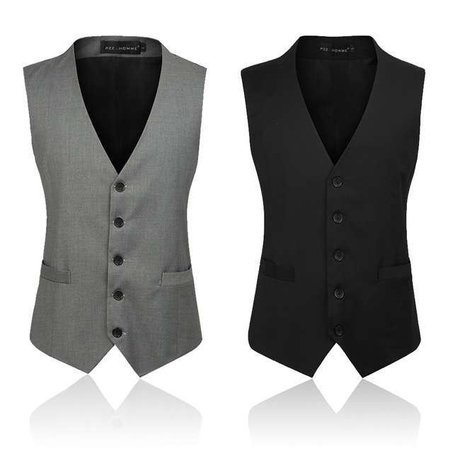 2017 Brand Mens Suit Vest Men Business Casual Vest Single-breasted Men 5XL Beckham Vest Patchwor 2 Color Fashion Avaliable MT330