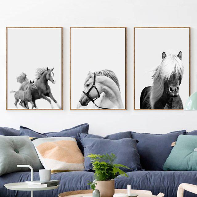Elegant Poetry Pentium Horse Gray Simple Decoration A4 Canvas Painting Print Poster Picture Wall Art Bedroom