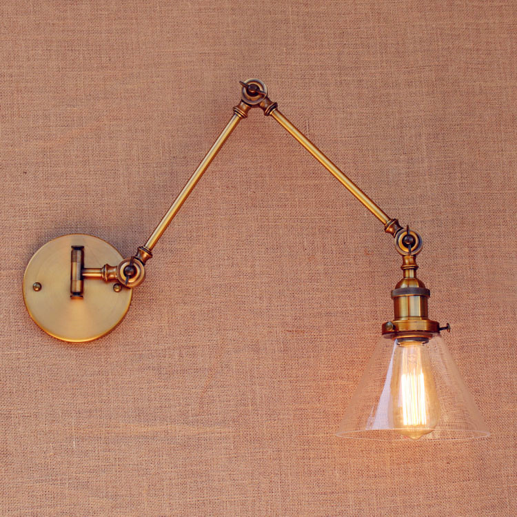Brass Antique Loft Vintage Wall Light Glass Swing Long Arm Wall Lights Fixtures Industrial Retro Wall Lamp Edison Appliques LED