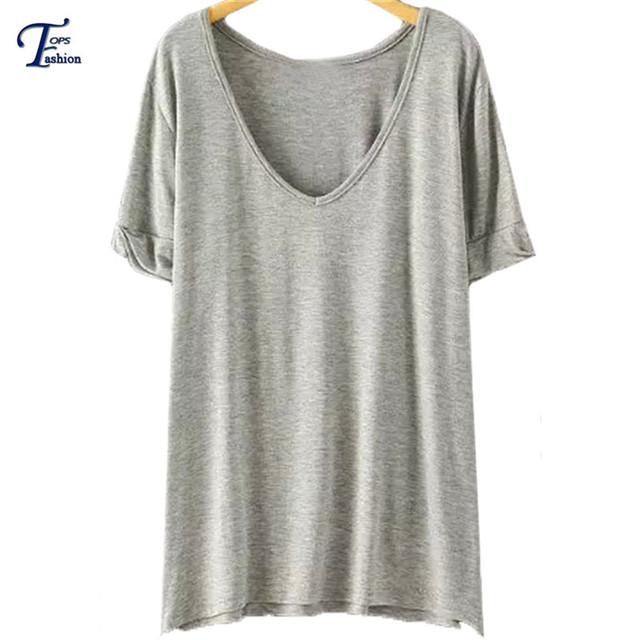 Más el Tamaño Tops Para Las Mujeres 2016 Nuevo Estilo de la Llegada Del Verano marca Casual Camisetas de Manga Corta Con Cuello En V Sólido de Algodón Sueltos camiseta