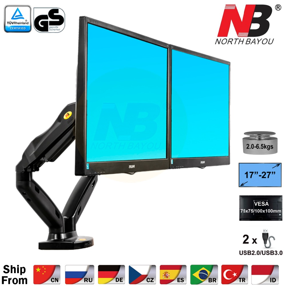 "NB F160  Gas Spring 360 Degree Desktop 17"" 27"" Dual Monitor Holder Arm Full Motion Dual Arm Monitor Mount Bracket-in TV Mount from Consumer Electronics"