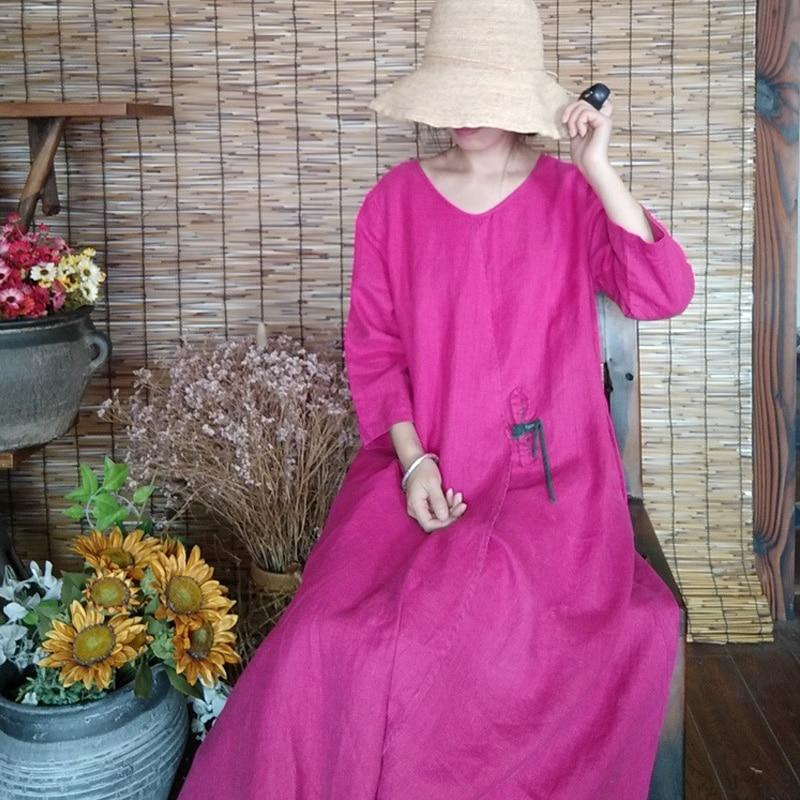 Johnature Rose Red Women Dress Vintage Cotton Linen Robes 2019 Autumn New O Neck Long Sleeve