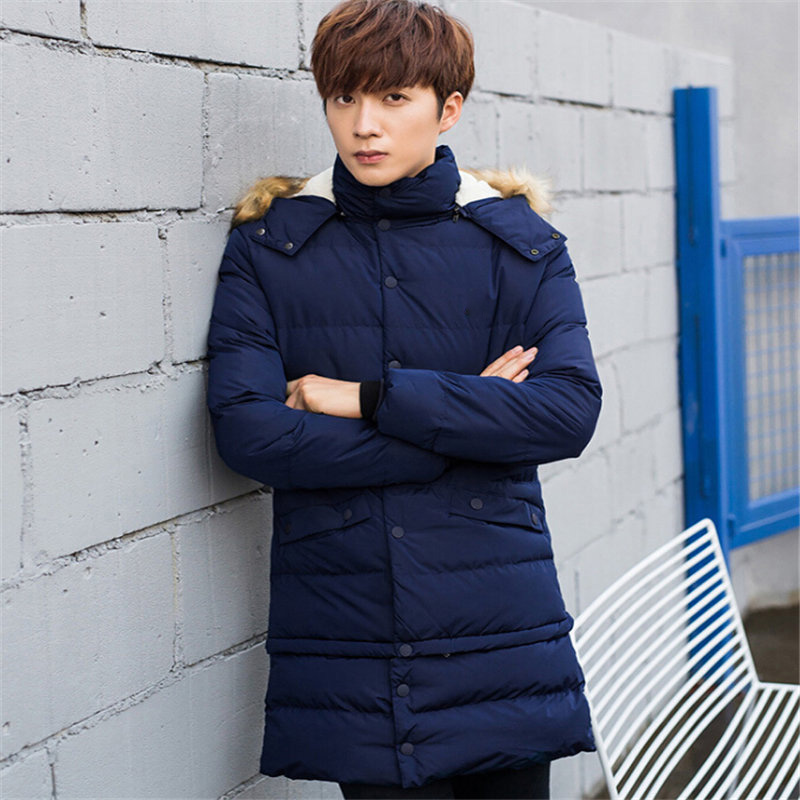 Winter Long Jacket Men Fashion Fur Collar Hooded Parkas Mens Casual Thick Warm Windproof ...