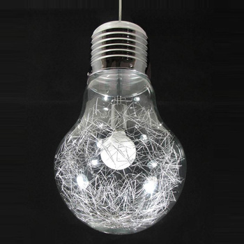 "10""  Stylish Big Bulb Modle Dining Room Pendant Lamp Free ShippinG New Modern Aluminum Wire inside Glass ball Fixture"