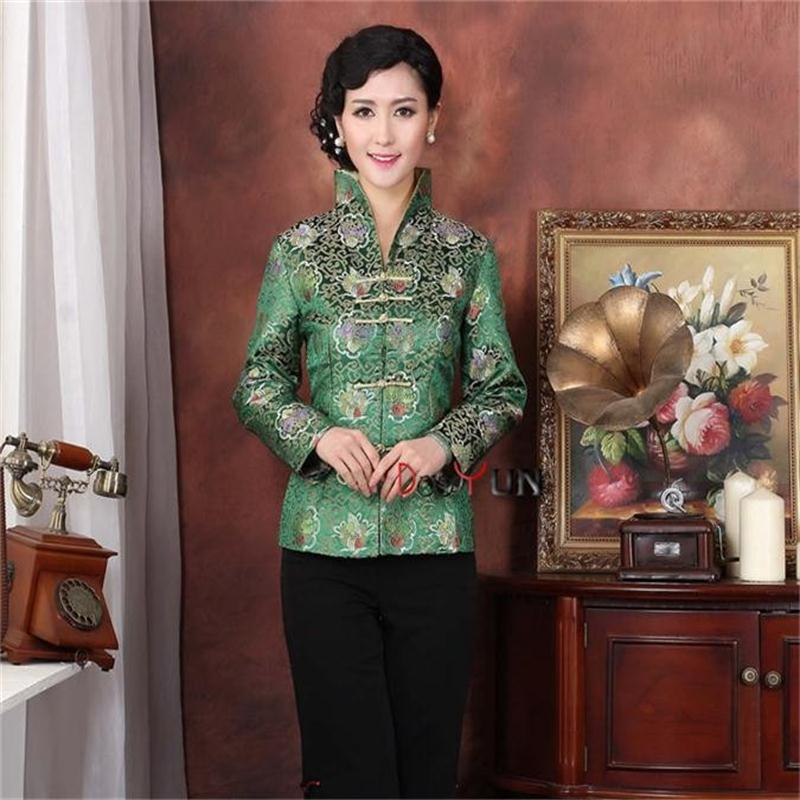 Holiday Sale Green Female Satin Silk Overcoat Vintage Long Sleeve Tang Suit Print Clothing Floral Jacket Size S To XXXL NJ210