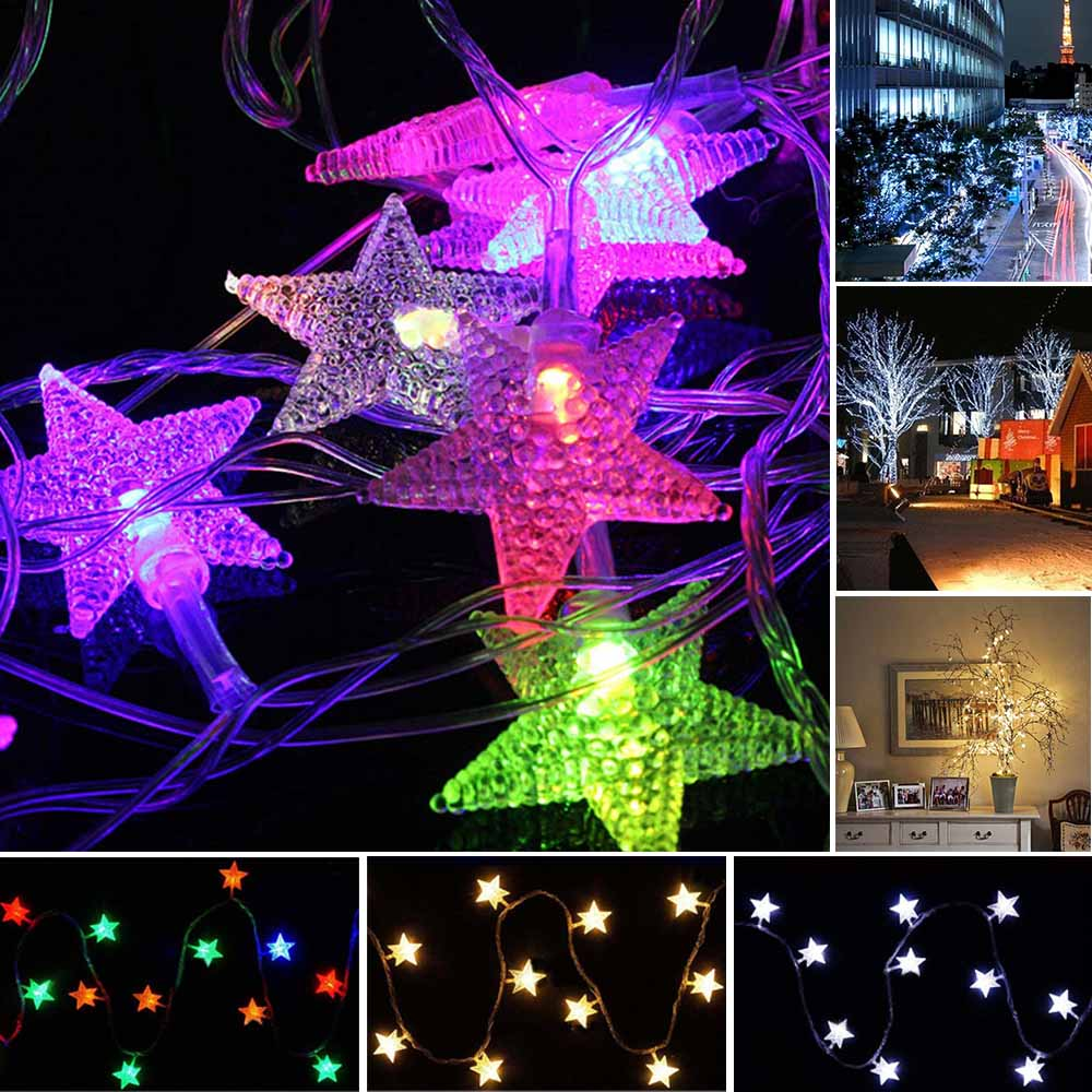 10m 70 Led Christmas Tree Snow Star Bulbs Led String Fairy