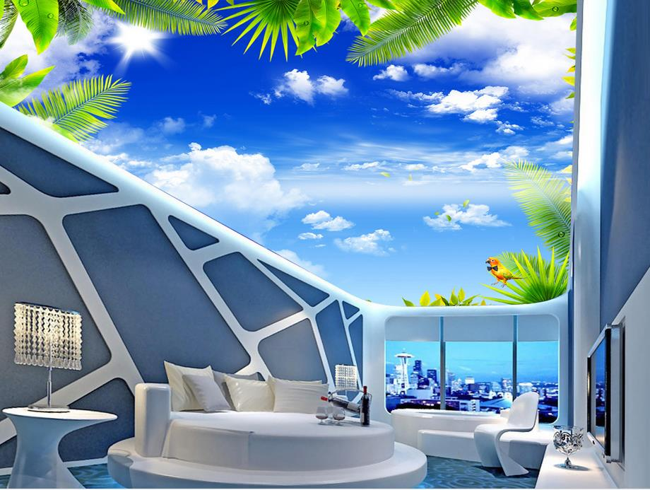 custom 3d ceiling mural Blue sky and white clouds 3d ceiling luxury wallpapers for living room 3d ceiling murals for bedroom custom ceiling wallpaper blue sky and white clouds landscape murals for the living room bedroom ceiling wall papel de parede