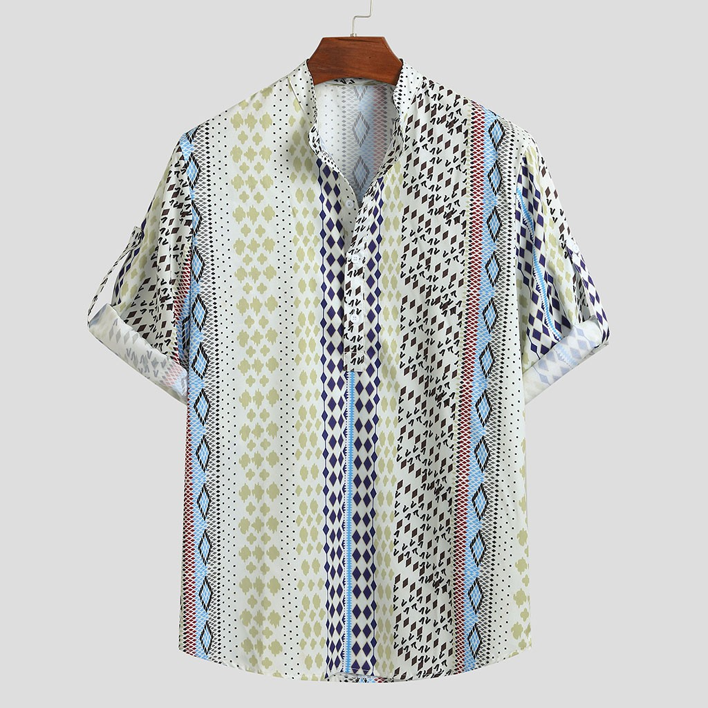 Mens Loose Multi Color Lump Chest Half Sleeve Stand Collar Round Hem Shirts Summer Style US Turn-down Collar Short-Sleeved Hawai