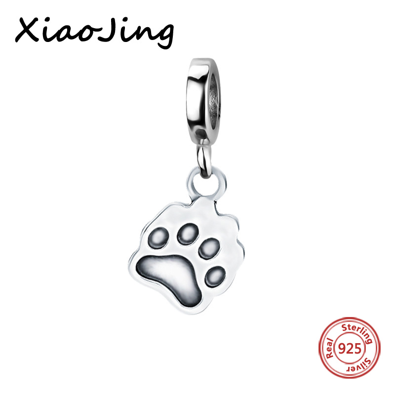 Genuine 925 sterling silver beads Dog Footprints Charm Beads Fit European Pandora Charms Bracelets Pendants Jewelry Woman Gifts