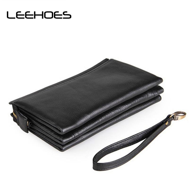 купить Vintage Genuine Leather Clutch Wallet Male Purse Large Capacity Men's Wallets Male Money Purse ID Card Holder Carteira Masculina по цене 4377.68 рублей