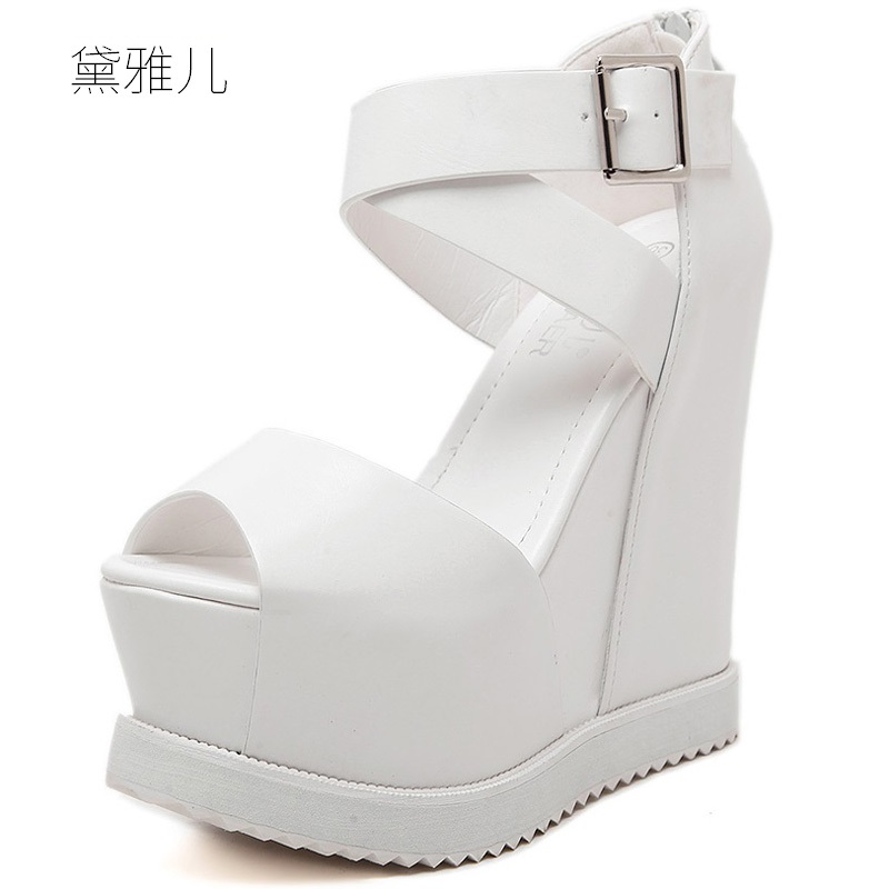 2018 Summer Style Black White Sexy Wedges Ultra High Platform Heels Sandals for Womens with Shoes Woman Wedding Dress Ladies
