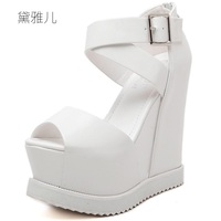2018 Summer Style Black White Sexy Wedges Ultra High Platform Heels Sandals for Women's with Shoes Woman Wedding Dress Ladies
