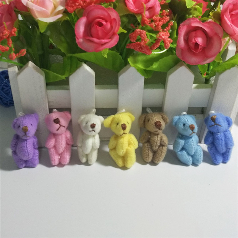10PC Super Kawaii Mini 4cm Joint Bowtie Teddy Bear Plush Kids Toys Stuffed Dolls Wedding Gift For Children 2019