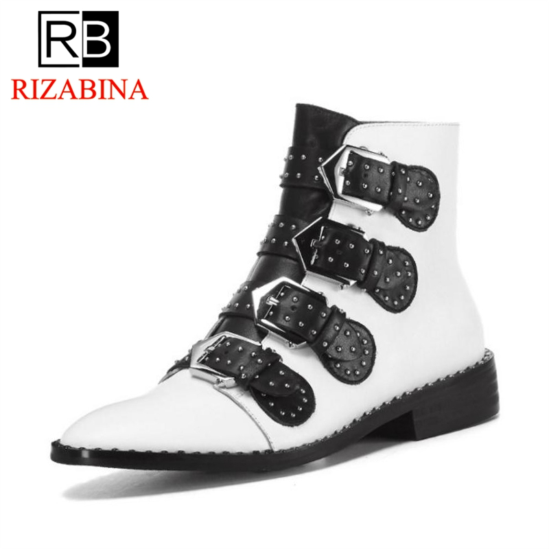 RizaBina Size 33-43 Women Ankle Boots Real Leather Metal Buckle Woman Short Boots Retro Fashion Shoes Women FootwearRizaBina Size 33-43 Women Ankle Boots Real Leather Metal Buckle Woman Short Boots Retro Fashion Shoes Women Footwear