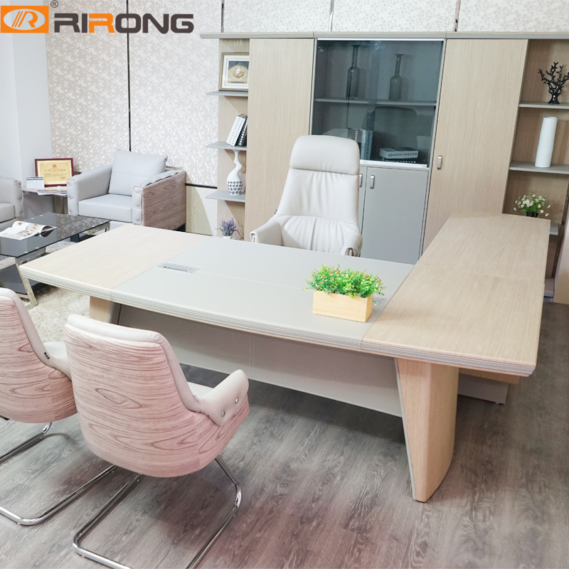 Luxury Colorful Simple Modern Leather With Wood Veneer CEO BOSS Home Study Office Manage Executive Table Desk