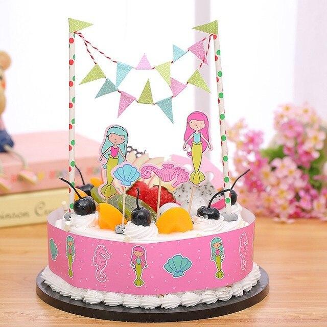 Kostenloser Versand Meerjungfrau Birthday Cake Topper Geburtstag Partydekorationen Kinder Party Supplies Baby Dusche Madchen