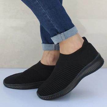 Women Shoes Knitting Sock Sneakers Women Spring Summer Slip On Flat Shoes Women Plus Size Loafers Flats Walking krasovki Famela 4