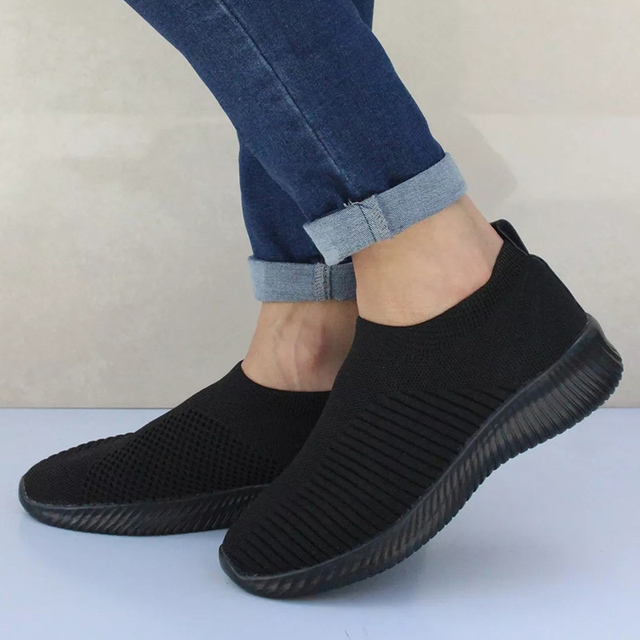 UPUPER Light Sneakers Women Breathable Mesh Vulcanized Shoes Outdoor Flat Slip-On Sock Shoes Women For Walking Plus Size 35-43 2