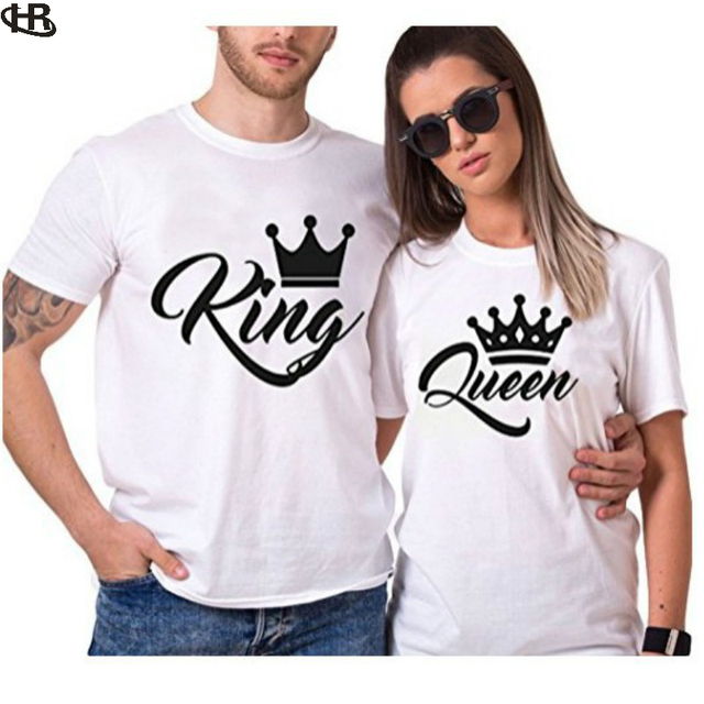 ef569e409ced King Queen Couples H R T Shirt Crown Printing Couple Clothes Summer T-shirt  2018 Casual O-neck Tops Lovers Tee Shirt