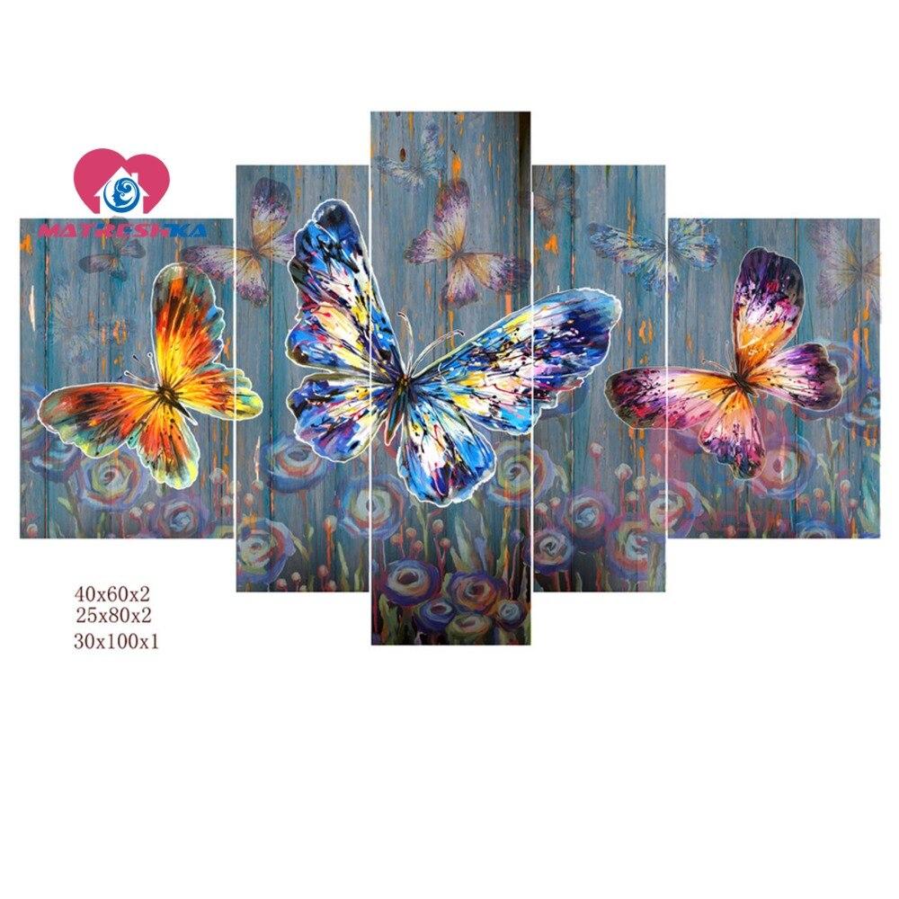 Diamant peinture papillon diamant mosaïque diamant broderie triptyque pleine perceuse carré photos de strass kit de bricolage artisanat