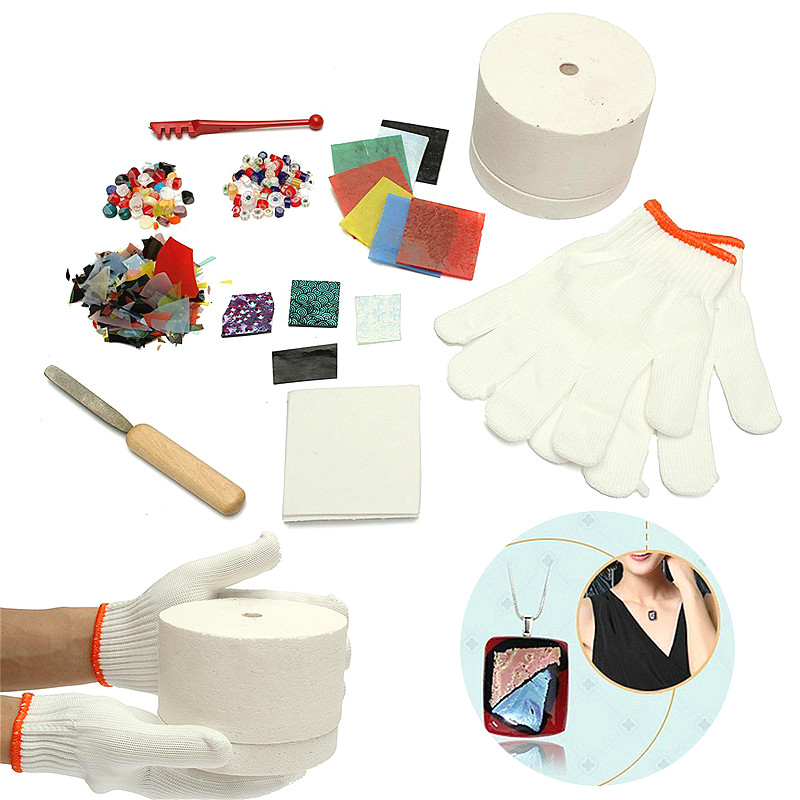 10pcs/set Professional Microwave Kiln Kit Tool Set Stained Glass Fusing Supplies DIY Kit Ceramic Accessories Supplies