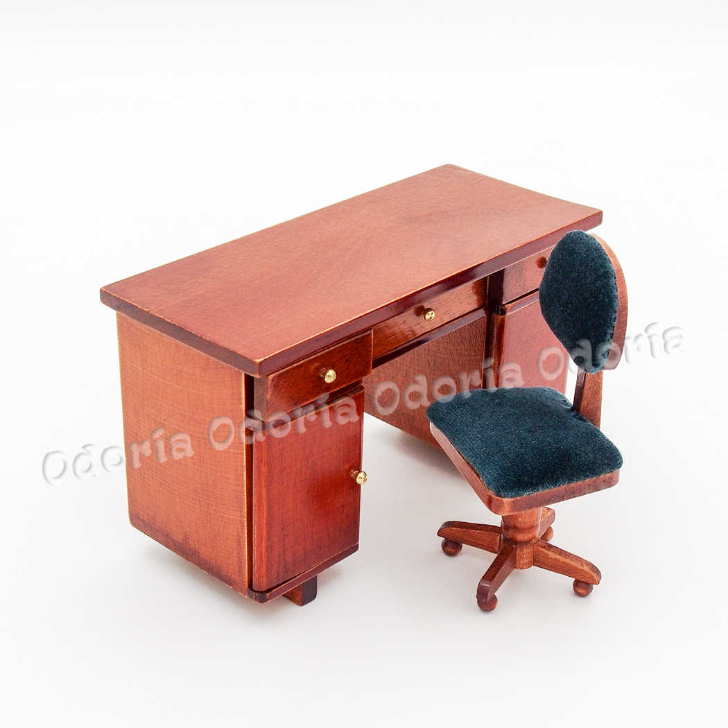 Odoria 1:12 Miniature Wooden Office Desk and Swivel Chair Dollhouse Furniture Accessories