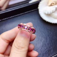 S925 silver Natural red garnet gem ring natural gemstone ring Fashion row Wheat spike woman girl wedding gift fine jewelry