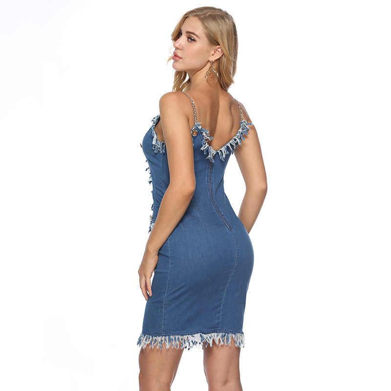 платье летнее женское 2019 платья больших размеров одежда для женщин джинсовый сарафан женский летний джинсовое платье бандажное джинсовые платья и сарафаны женские летние платья большие размеры A2409