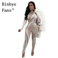 Binbye Fans Night Club Long Sleeve Party Tight Body Casual Rompers Jumpsuit S-XXL Bodycon Sexy Bodysuit Overalls CH309