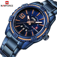 NAVIFORCE Top Brand Luxury Men Watches Blue Waterproof Date Week Quartz Watch Man Full Steel Fashion